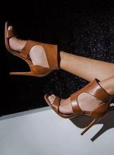 Hot Selling Brown Leather Peep Toe Gladiator Sandals Women Back Zipper Cut-out Cage Shoes Women High Heels Ankle Bootie недорого