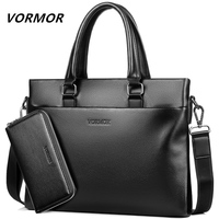 VORMOR PU Leather Bag Business Men Bags Laptop Tote Briefcases Crossbody Bags Shoulder Handbag Men S