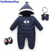 Newborn Baby Girls Boys   Rompers   Winter Warm Toddler Hooded Jumpsuit Kids Outwear Enfant Snowsuit Boys Thick Cotton Clothing