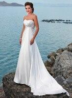 Империя Белый Упругие атласная для беременных Для женщин пляжные 2018 дешевые невесты свадебное платье на шнуровке Бисероплетение Кристалл