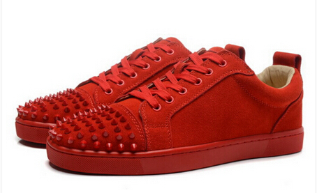 Promotion~Men Suede Spike Sneaker Red Bottom Lace Up Shoes Rivet Sapatos Low Top Fashion Men Casual Flats red off shoulder lace up elastic waistband casual co ords