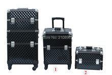 Aluminum 2 in 1 Beauty Case makeup case with trays Trolley cosmetic box 4 Colours