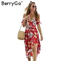 BerryGo Elegant Floral Print Boho Dress Women Sexy V Neck Lace Up Long Dress Split Beach