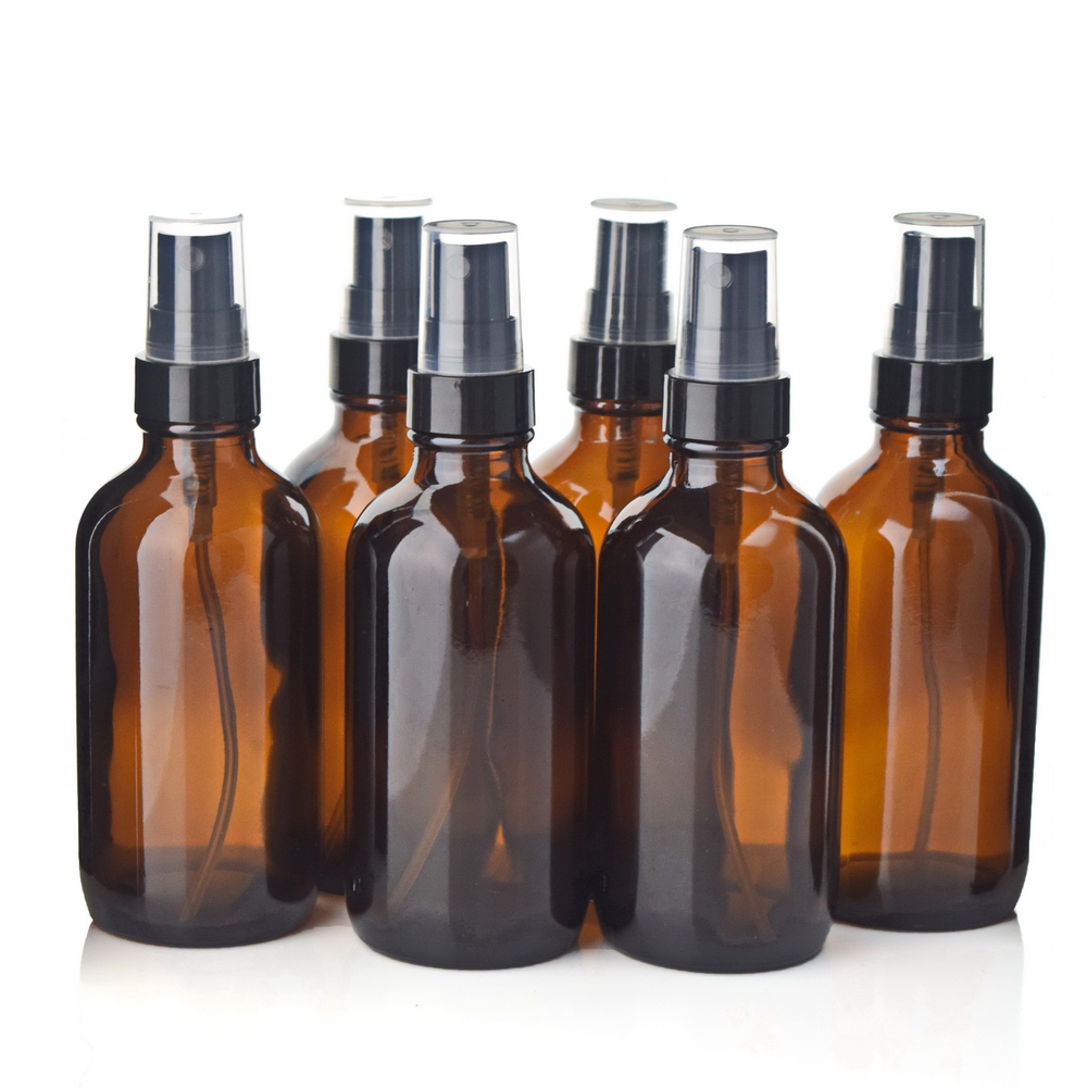 6pcs 4 Oz 120ml Boston Round Amber Glass Bottle Containers with Black Fine Mist Spray for Aromatherapy Cleaning Essential oils