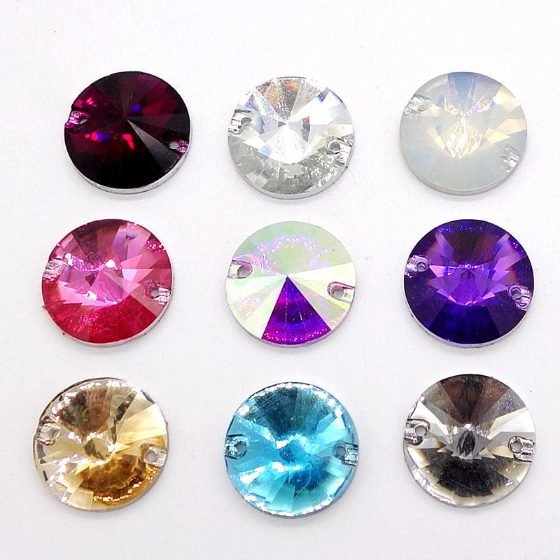 Wholesale 50pcs Sew On Resin Rhinestones Round Rivoli Buttons beads DIY 14mm