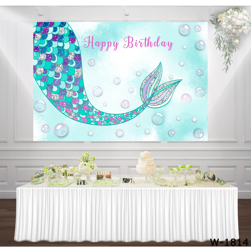 Mermaid Birthday Party girl princess Turquoise backdrop photocall under sea background Glam dessert table decoration photo booth