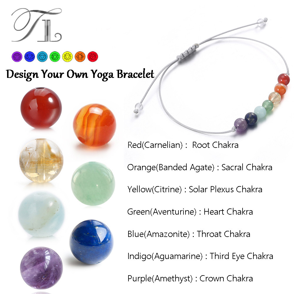 TL Top Selling Rainbow 7 CHAKRA Healing Bracelets 6mm Natural Beads Balance Yoga Bracelets for Women/Men Power Energy Bracelets bracelets