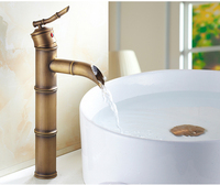 New style bamboo brass basin faucet for bathroom hot and cold water