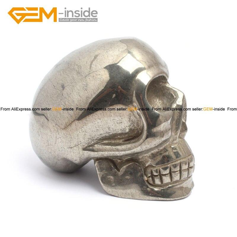 Gem-inside forme de crâne naturel & éléphants pour paracor argent gris Pryite décoration 4 pouces 1 pièces pour femme homme enfants cadeau - 5