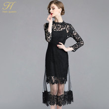 dab317393cd H Han Reine Automne Maille Patchwork Dentelle Robe Femmes O-cou Travail  Casual Parti Slim Sexy Noir Longues Robes Vintage Robes