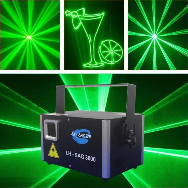 Оборудование для украшения событий DMX лазерный луч диско свет 3000 мВт зеленый