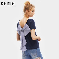 SheIn Ladies Exaggerated Striped Bow Embellished T Shirt Navy T Shirts Women 2017 Summer Short Sleeve