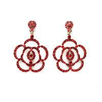 Women Luxury Retro Inlay Red Crystal Flowers Pendants Party Earrings Factory Wholesale