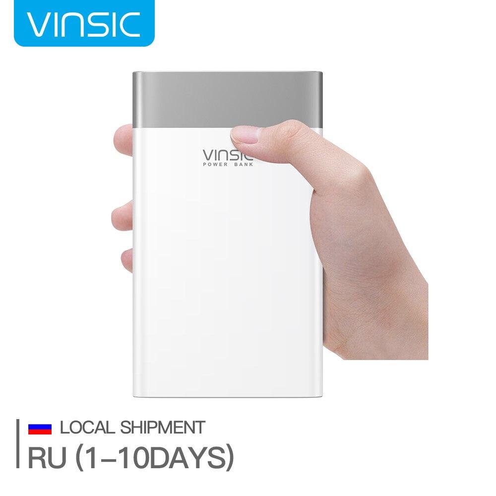 (Корабль из России)Портативное зарядное устройство, Vinsic 20000 мАч Двунаправленная быстрая зарядка, Два порта на вход: Micro и Type-c, Совместимо QC2.0 и...