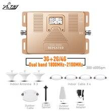 ATNJ dual band repeater 2G 3G 4G โทรศัพท์มือถือเครื่องขยายเสียง 1800/2100 MHz สัญญาณ Booster พร้อมหน้าจอ LCD รวม 3 ในร่มเสาอากาศ