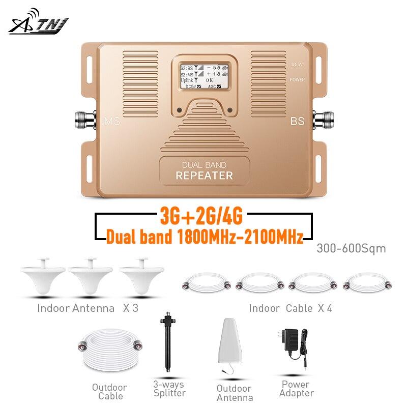 Repetidor de doble banda de atnim 2G 3G 4G amplificador de teléfono celular 1800/2100 mhz amplificador de señal con la pantalla LCD incluye 3 antenas de interior