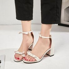 2019 New Women's Sandals Women's Shoes Thick Heel High Heels Suede Bow Buckle One Word Female Sandals Shoes Woman Sandals