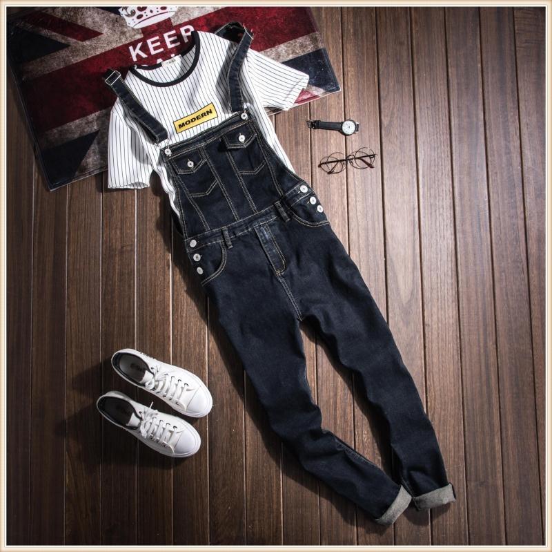 Korean style hip hop Plus Size 4XL Black Denim Slim Jumpsuit Male Suspender Bib Long Pants Fashion Casual Jeans Overalls 060806 2016 fashion korean new girl jumpsuit denim overalls casual girls pants jeans girls casual vintage suspender jean trousers 3 15y