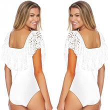 Lace Off Shoulder Swimsuit New Women Sexy Ruffles high-waist Bodysuit Monokini Swimwear High-Cut One Piece Swimsuit Swim Wear