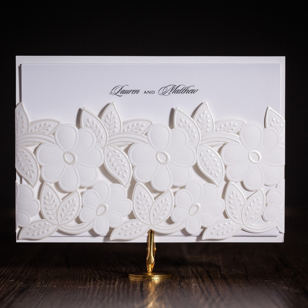 Wishmade Cw5170 White Wedding Invitation Card Greeting Card With