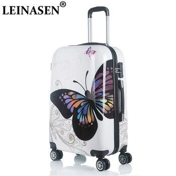 20 24 pulgadas Linda historieta estudiante equipaje rodando Spinner niños Trolley maleta ruedas niños llevar en bolsa de viaje maletero de lado duro