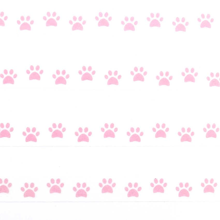 1 CÁI Hồng Màu Washi Băng Pastel Dog Footprint Mẫu Trang Trí Adhesive Tape Masking Tape Băng Giấy 10 m * 8 mét