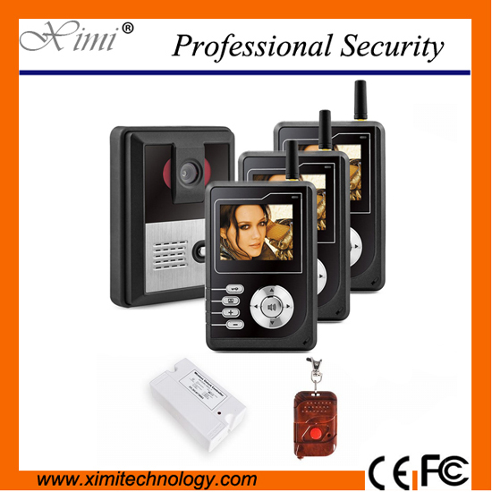 Three families video door phone wireless video 300m wireless distance with night version camera with remote control