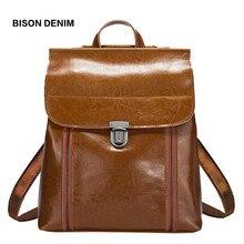 BISON DENIM Genuine Leather Women Bag Vintage School Backpac
