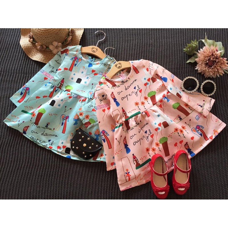 Cute Girls Dress Cotton Long Sleeve Infant Dress O Neck Dresses For Girl Print A Line Kids Clothes New Cartoon Children Clothing (2)