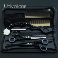 Univin 5 5 HRC62 Leopard Hair Scissor VG10 With Bag Cloth Comb Clip HairCut Barber Razor