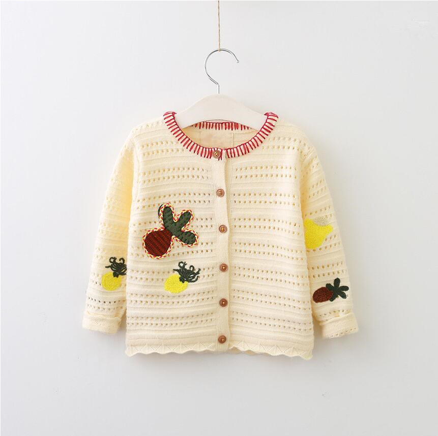 Fast Deliver Y70602451 Girl Cardigan Appliques Flowers Girls Sweater Kids Clothes Fashion Girls Clothes Kids Clothes Baby Sweater
