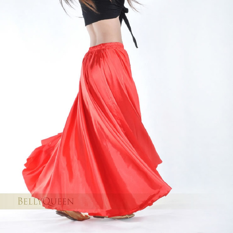 Belly Dance Skirt Satin Chiffon For Women Bellydance Costume Dancer Practice Wear 360 Degree Satin Long Skirt 14 Colors Availabl