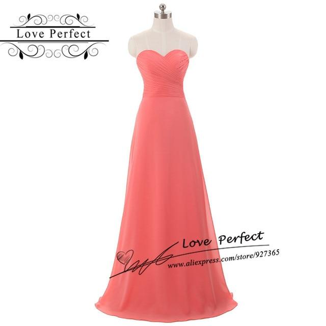 Coral Bridesmaid Dress Floor Length Chiffon Pleat Robe De Soiree Longue Simple Elegant Dress Long Party Gown Bridesmaid Dress