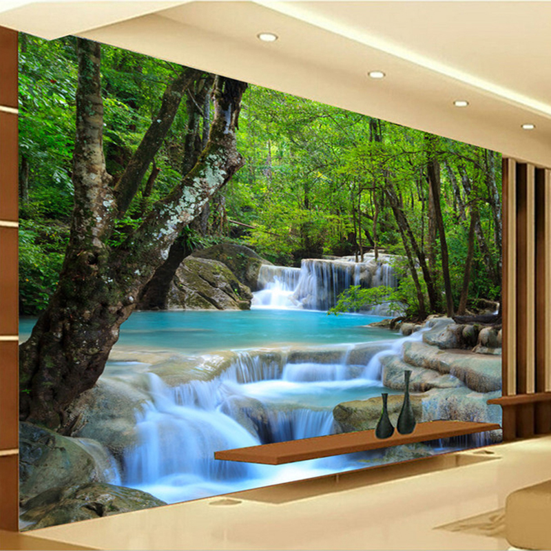 Custom Photo Wallpaper 3D HD Forest River Waterfall Backdrop Decorative Wall Painting Living Room Bedroom Wall Covering Paper пляж на самуи