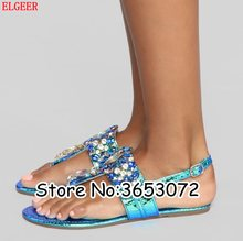 jewellery Crystal Women Thong Flats Sandals Luxury Rhinestone Lady Fashion Buckle Strap Beach Summer Shoes Casual Outdoor Shoes(China)