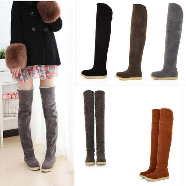 551c2a064a9b Women Boots Winter Boots Ladies Fashion Flat Bottom Shoes Over The Knee  Thigh High Suede Long Boots warm plush snow boots 35-41