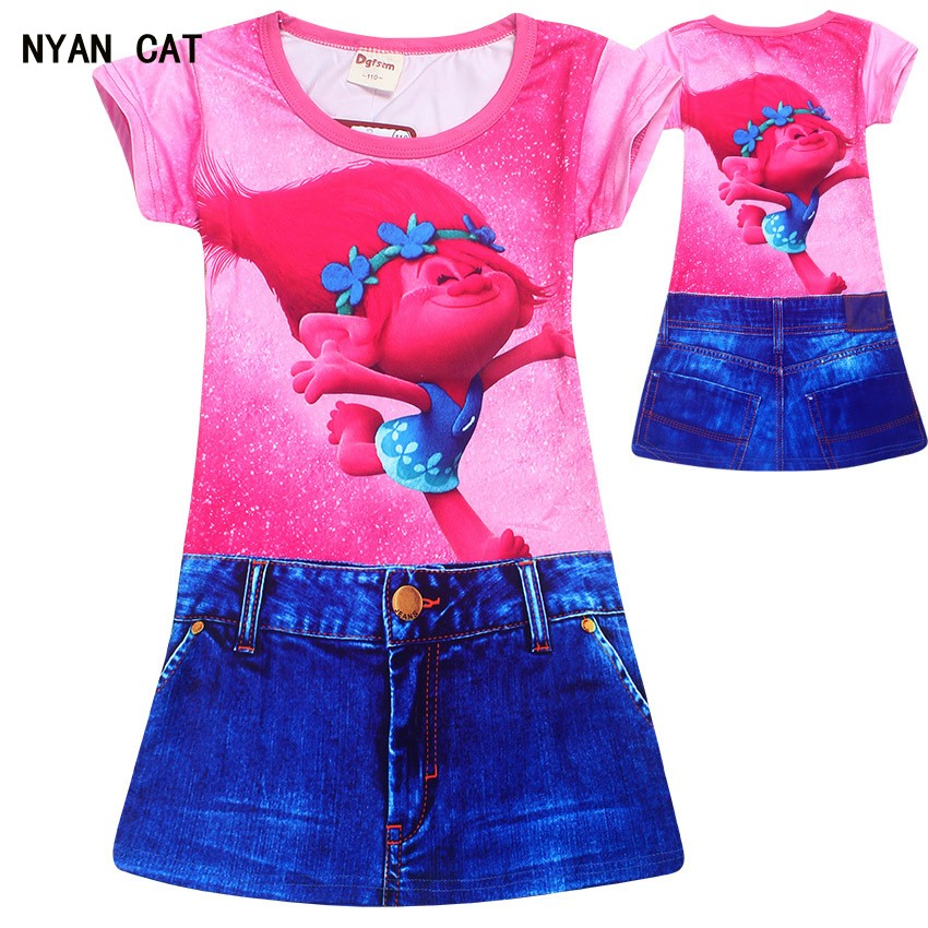 EMS DHL Free Shipping toddler Little Girl's 2017 Denim Pink Dress Trolls COSTUME Short Sleeve Jeans Casual Dress Summer Style dhl ems 5 tr on 3 tron3 for fu ji thermal overload relay new free shipping d1