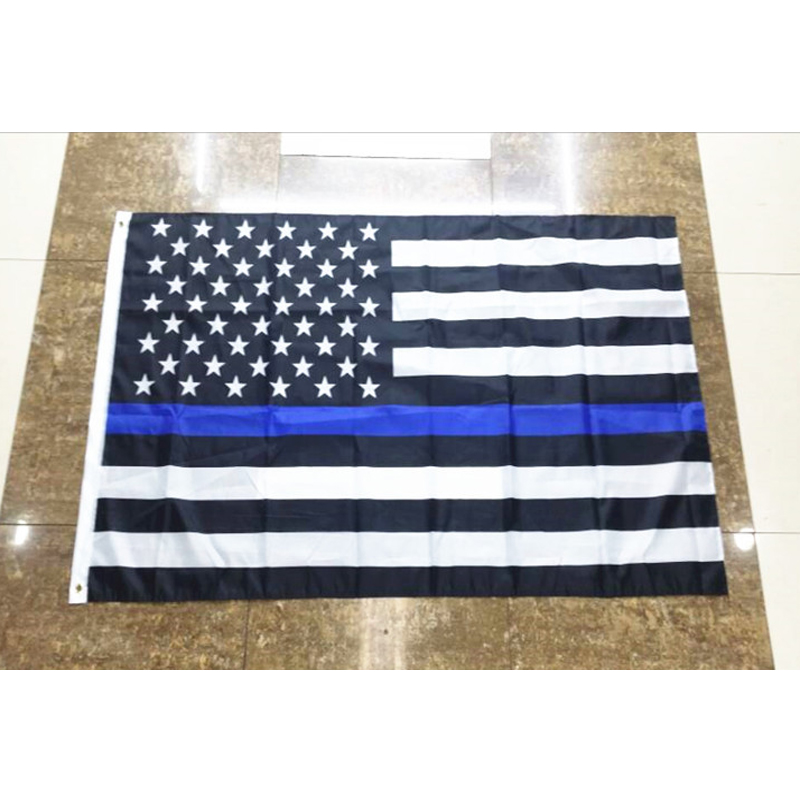 150 90 cm Subdued Thin Blue Line Stripes USA Flags grommets Police Cops Flags Black White Blue Flags Drop Shipping in Flags Banners Accessories from Home Garden