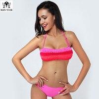 MANYIER Bandeau Bathing Suit Bikini Swimwear Women Summer Style Straps Back And Sides Swimsuit Push Up