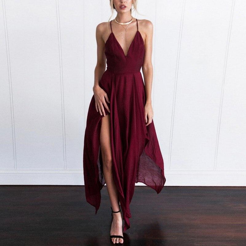 Liva menina sexy verão longo vestido maxi feminino elegante sem mangas estilingue v pescoço vestido de festa à noite boho praia vestido