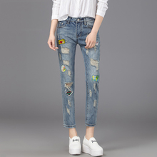 2016 Spring New Hole Jeans Female All-match Personality Applique Ankle Length Trousers Casual Skinny Jeans