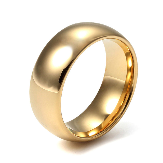 Mprainbow Mens Rings 8mm Tungsten Steel Wedding Band Gold color