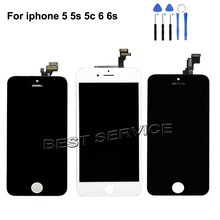 Grado AAA sin píxeles muertos para iPhone 6 5 5S 5C 6s pantalla LCD con montaje de digitalizador con pantalla táctil negro blanco
