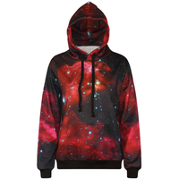 Harajuku 3D Print Red Galaxy Star Sweatshirts Fashion Long Sleeve With Hat Men Women Sport Hoodies