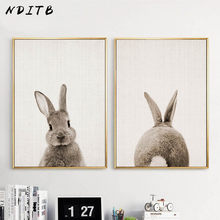 NDITB Rabbit Bunny Butt Tail Canvas Art Poster Woodland Baby Animal Nursery Print Painting Wall Picture for Living Room Decor(China)