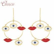 CANNER 2019 New Fashion Statement Earrings for Women Hanging Dangle Drop Earing Hip Hop Jewelry Lip Evil Eye Earring