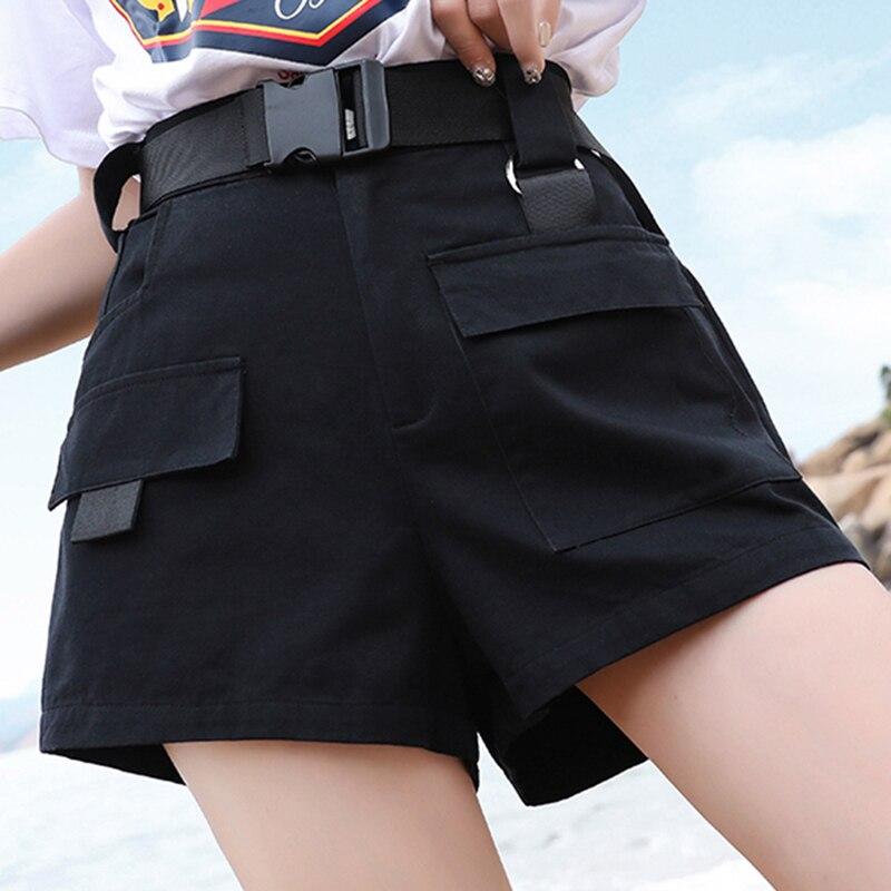 3XL Plus Size Women Summer Shorts With Belt 2019 Fashion Casual Streetwear Cargo Shorts Feminino BF Style Army Green Short Femme 3