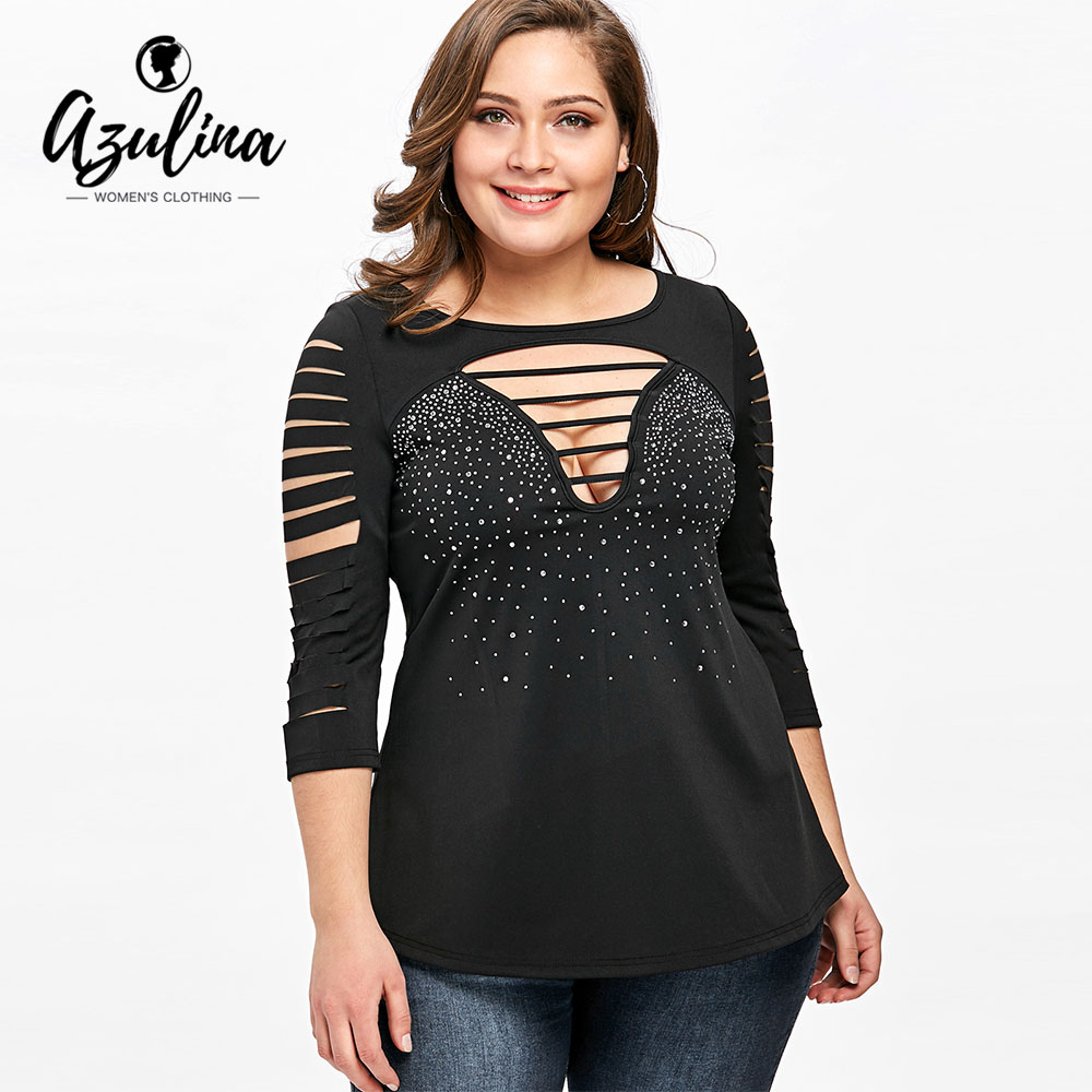 Azulina plus size 5xl ladder shredding t shirts women t for 3 4 sleeve t shirts plus size