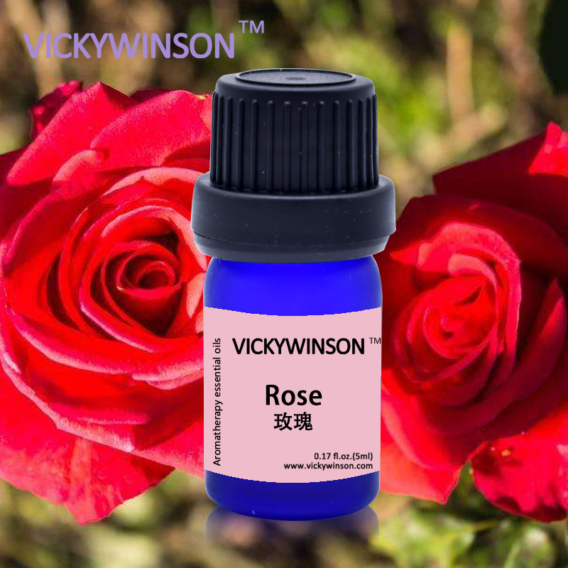 Купить с кэшбэком VICKYWINSON Rose Essential Oil skin care Relax spirit Aphrodisiac Aromatherapy Fragrance lamp Spa body Massage foot bath 5