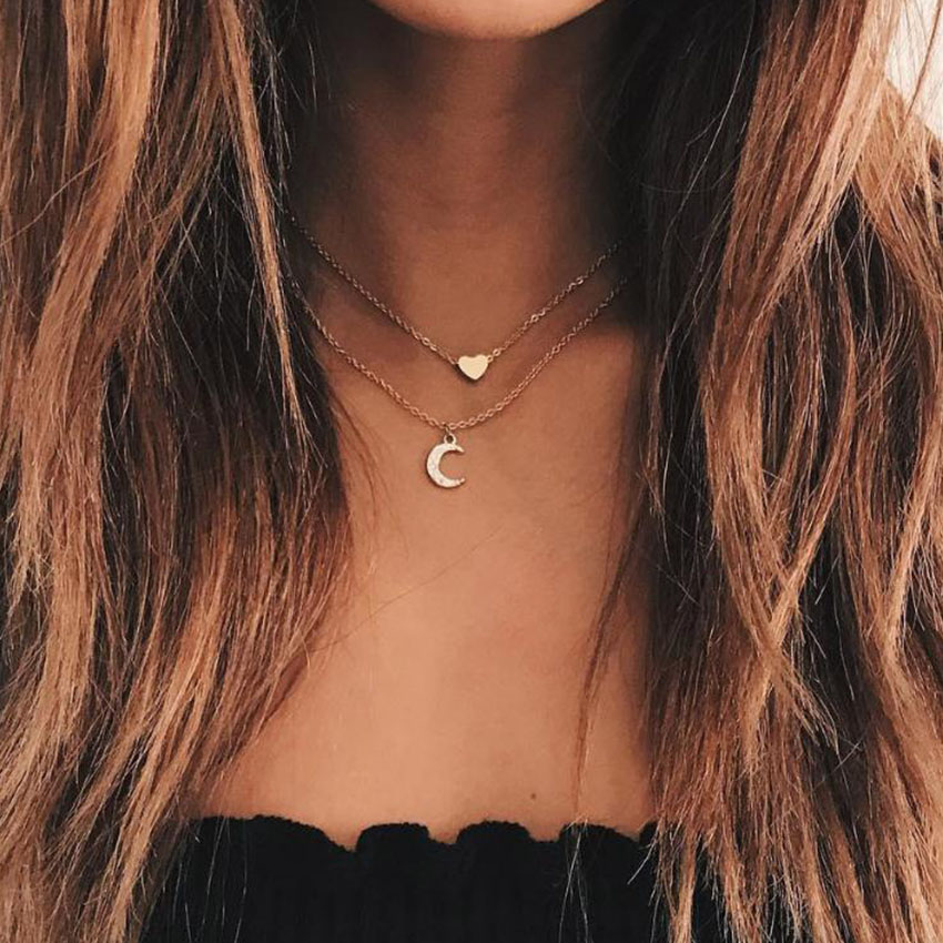 Double Layer Gold Chain Love Heart Necklace For Women Crystal Moon Chocker colar Necklaces Pendants collier femme Kolye